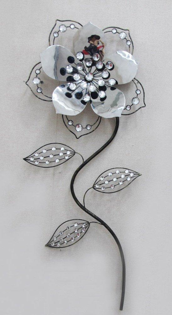 Amazon.com: TWG Modern Wall Sculptures: Stem Flowers - Crystal Rose ...