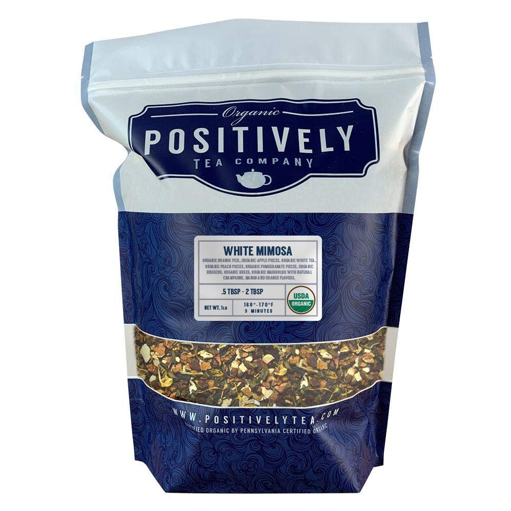 Positively Tea Company, Organic White Mimosa, White Tea, Loose Leaf, USDA Organic, 1 Pound Bag by Organic Positively Tea Company