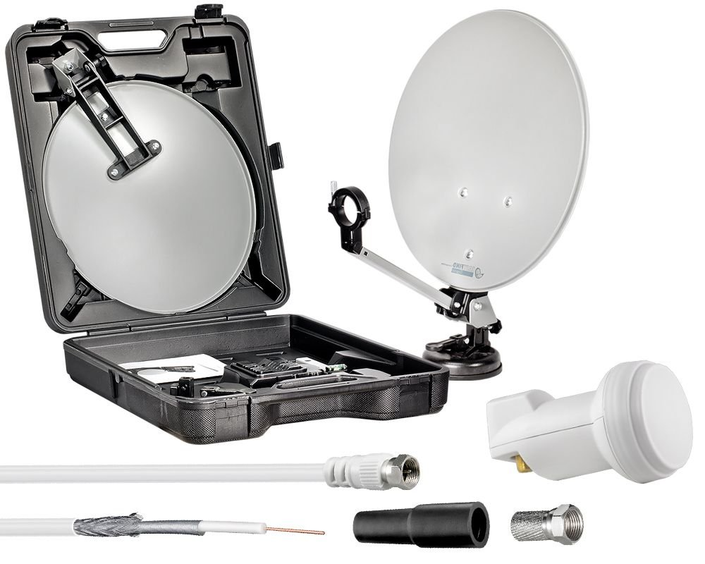 HDTV Camping Sat Anlage NUR 5,5KG Koffer Spiegel Stativ LNB Set Mobile Sch/üssel