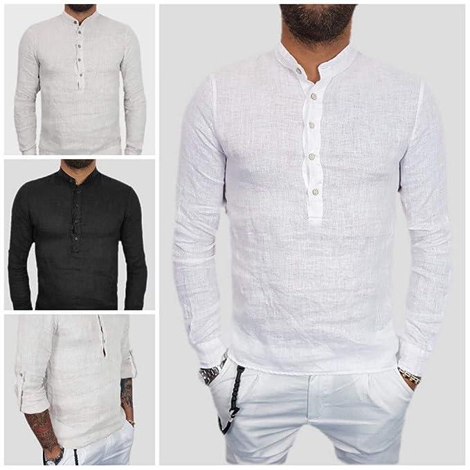 Camisa de algodón Suelta con Cuello en V para Hombre de Verano con Cuello en Pico sólido de Verano de Internet.: Amazon.es: Ropa y accesorios