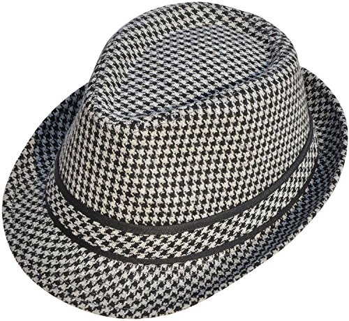 Classic Gangster Stain-Resistant Crushable Gentleman's Fedora Hat, Black/Grey
