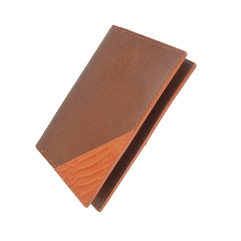 Bryant Park Genuine Leather Passport Case Cognac Orange Made in USA