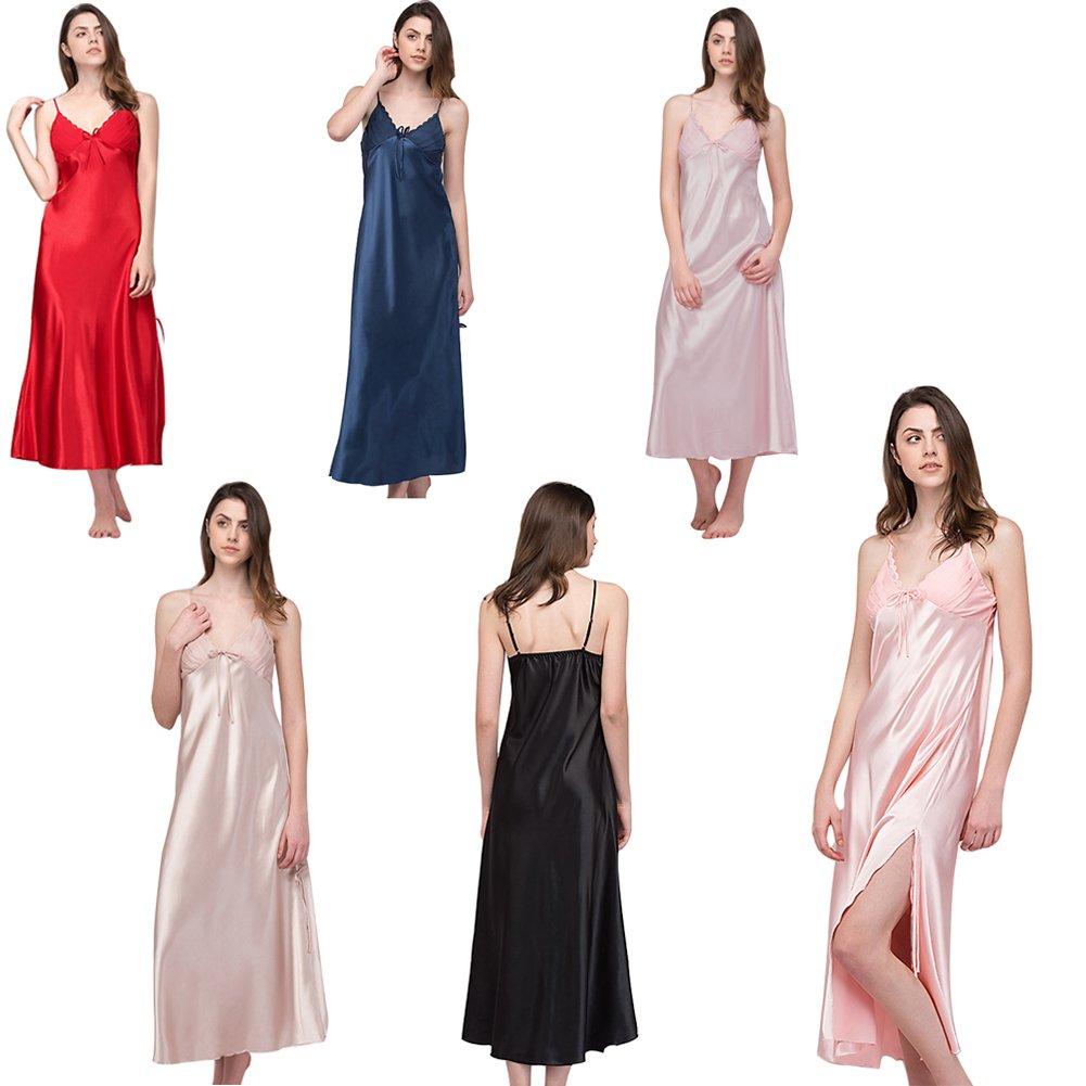 eeba4d51df SexyTown Women s Long Trimmed Satin Nightgown V-Neck Full Slip Lingerie  Sleepwear at Amazon Women s Clothing store