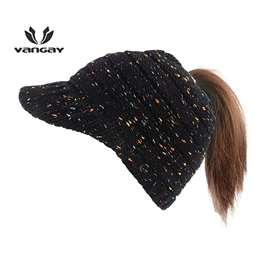 ceda4cc9e60 VANGAY Ponytail Stretchy Knit Visor Cap Women Knit Hats Beanie Tail Cable  Colored-Spots Messy