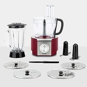 H.Koenig Procesador de Alimentos Potente, Profesional, 800 W, 1.5 litros, Múltiples Accesorios, Rojo MX18, plástico: Amazon.es: Hogar
