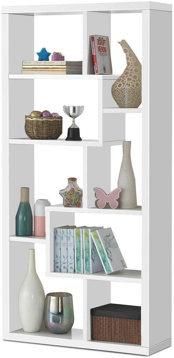 Giantex 8 Cubes Bookcase, Ladder Shelf Freestanding Corner Storage Bookshelf, 4-Layer Organizer Rack Display Cabinet White