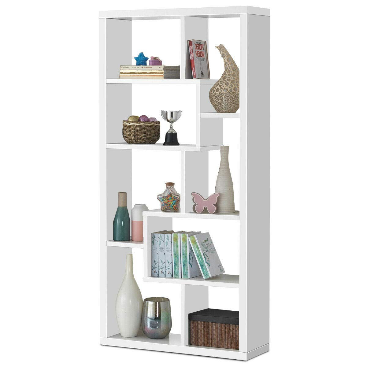 Giantex 8 Cubes Bookcase, Ladder Shelf Freestanding Corner Storage Bookshelf, 4-Layer Organizer Rack Display Cabinet White