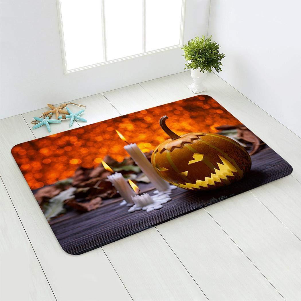 aiversal Halloween Theme Pumpkin Entry Carpet Bathroom Kitchen Anti-Slip Floor Mats Doormats
