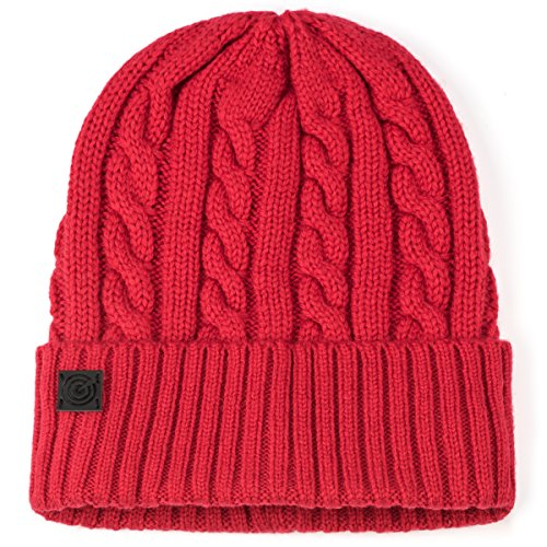 Evony Cable Style Knit Beanie - Red ()
