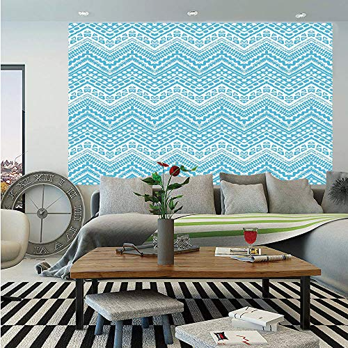 Light Blue Huge Photo Wall Mural,Hand Drawn Tribal Chevron Artwork African Native Ethnic Zigzag Boho Lines Decorative,Self-adhesive Large Wallpaper for Home Decor 100x144 inches,Light Blue White