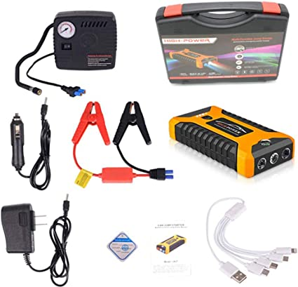 Aziteke Auto Starthilfe Powerbank 20000mah 4 Usb Smart Digital Tragbare Auto Starthilfe Notversorgungs Kit Batterie Für 6 0l Benzin Und 5 0l Dieselmotor Gelb Standardkonfiguration Luftpumpe Auto