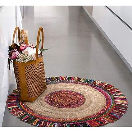 Jai Shri Shyam Jute Chindi Braided Area Round Rug/Carpet/Handmade Floor Rug