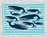 Ambesonne Whale Decor Tapestry, Sea Themed Design with School of Whales and Anchors in The Ocean Image, Wall Hanging for Bedroom Living Room Dorm, 80WX60L inches, Navy Blue and White
