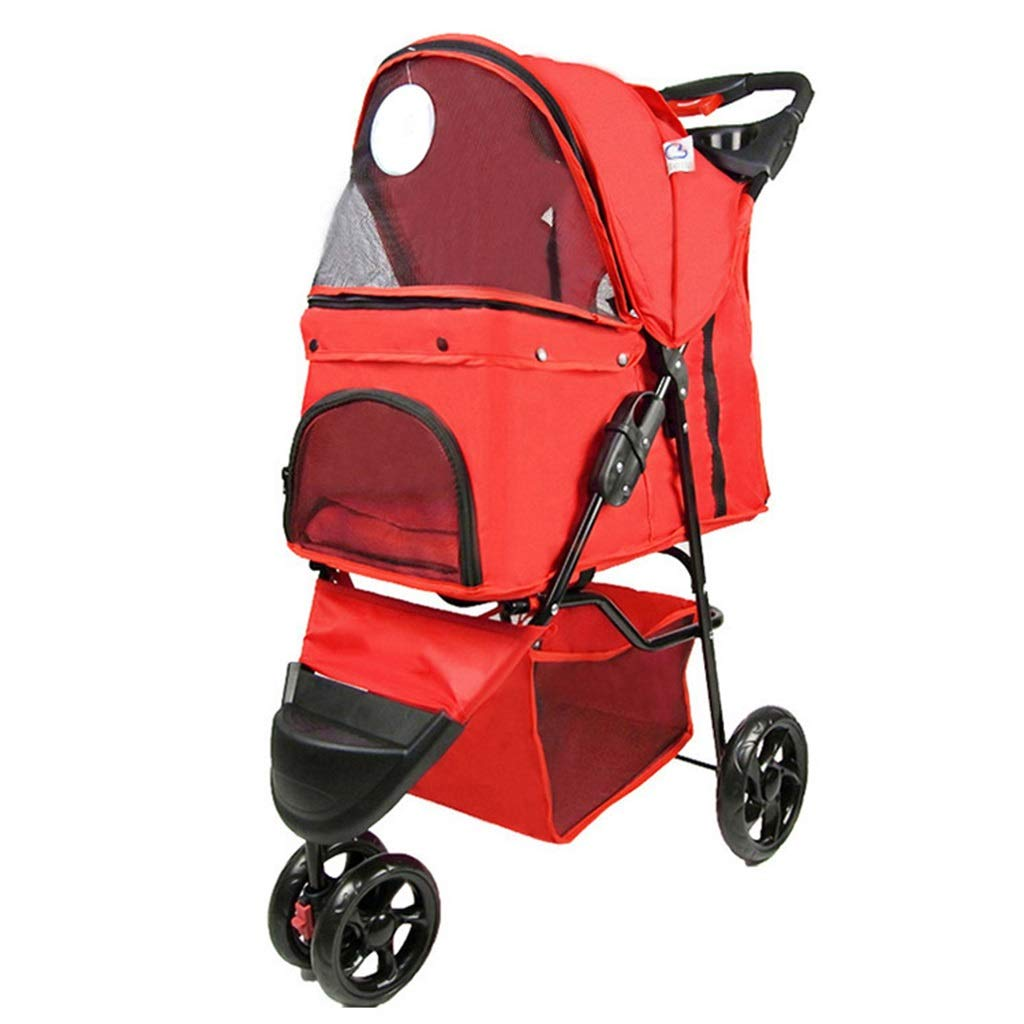 Red MZP Pet Travel Stroller Easy Foldable Pram for 600D Oxford Cloth Maximum Weight 20Kg Wheels 360 Degree redatable Cup Holders Storage Basket 6 EVA Steel Wheels (color   Red)