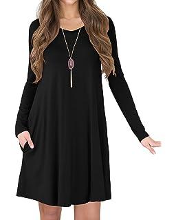39a2636e2 TINYHI Women's Long Sleeve Pockets Loose Fit Casual Swing Flowy T-Shirt  Dress