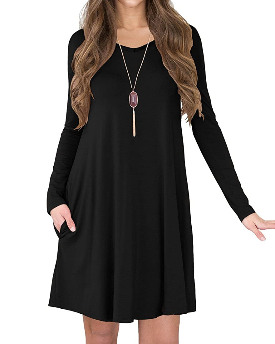 a8117698f5 TINYHI Women s Long Sleeve Pockets Loose Fit Casual Swing Flowy T-Shirt  Dress at Amazon Women s Clothing store