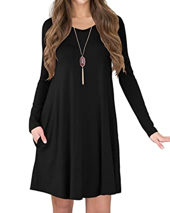 39d1f85cc04 TINYHI Women's Long Sleeve V-Neck Slit Pockets Casual Swing T-Shirt Dress(