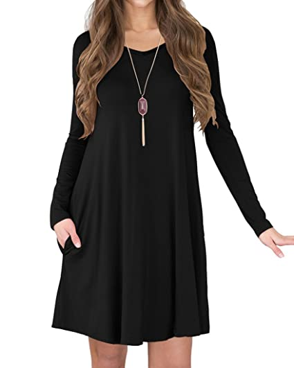 0ba9bfd2977c TINYHI Women s Long Sleeve V-Neck Slit Pockets Casual Swing T-Shirt Dress(
