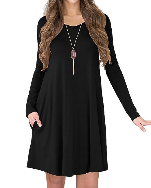 671f55d51425 TINYHI Women s Long Sleeve V-Neck Slit Pockets Casual Swing T-Shirt Dress(