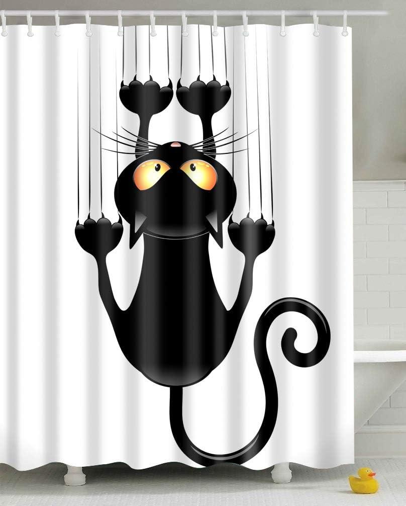 Gato Negro, 180x180 Leashy Cortina de Ducha Impermeable con impresi/ón Divertida de Gatos con Ganchos a Prueba de Moho