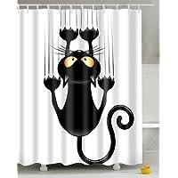 Adoya Rideau de douche à assembler soi-même, motif chat humoristique, avec crochets