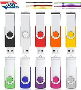 1GB Unidad Flash USB, Cardfuss 10Pack USB2.0 Memory Stick Swivel Thumb Drives USB Stick Jump Drive Pen Drive Almacenamiento de Datos con indicador LED (Multicolor con Cuerdas de Seguridad): Amazon.es: Electrónica