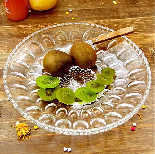 ZHM Fruit Plate, Beaded Glass Fruit Plate Household Large Simple Dried Fruit Plate Melon Plate bar ktv Fruit Plate Snack Plate