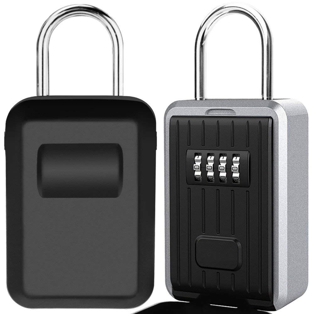 Key Lock Box Large Capacity Wall Mounted Key Safe Box with Cover, Key Storage Box with 4 Digit Combination Lock for Outdoor Home Office Garage School Gym Spare House Keys [Updated Version] (Black)
