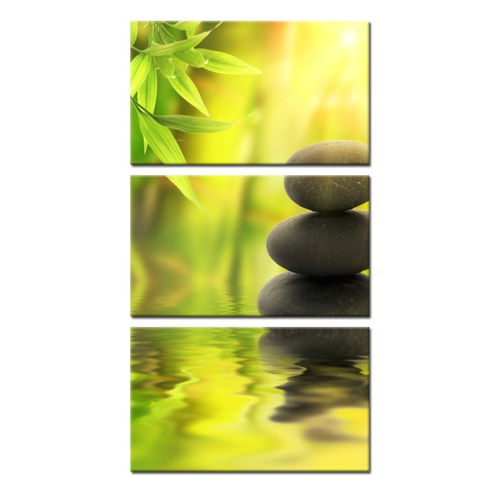 Kreative Arts - Zen Stone Canvas Wall Art Spa Still Life With Green Bamboo Painting Pictures in Garden 3 Panel Vertical Giclee Art Work Contemporary for Home Decoration 12x20inchx3pcs