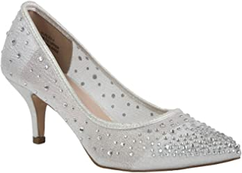 0336b88d6f De Blossom Collection Women's Party Dressy Rhinestone and Shimmer Mesh Low  Heel Pointed Toe Pump Silver