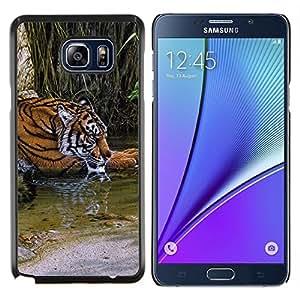 LECELL--Funda protectora / Cubierta / Piel For Samsung Galaxy Note 5 5th N9200 -- Río Tigre lindo Piel África Naturaleza Verde --