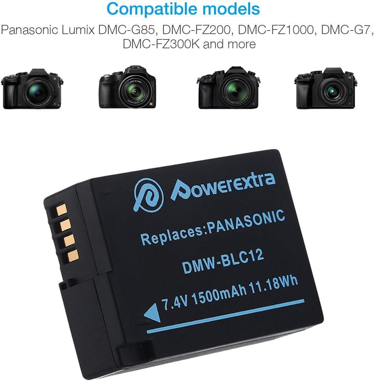 Powerextra LCD Dual cargador con 2 piezas de bater/ía de repuesto versi/ón mejorada compatible con Panasonic DMW BLC12 E para Panasonic Lumix DMC GX8 G70 G81 G7 G6 G5 FZ2000 FZ1000 FZ200 FZ300