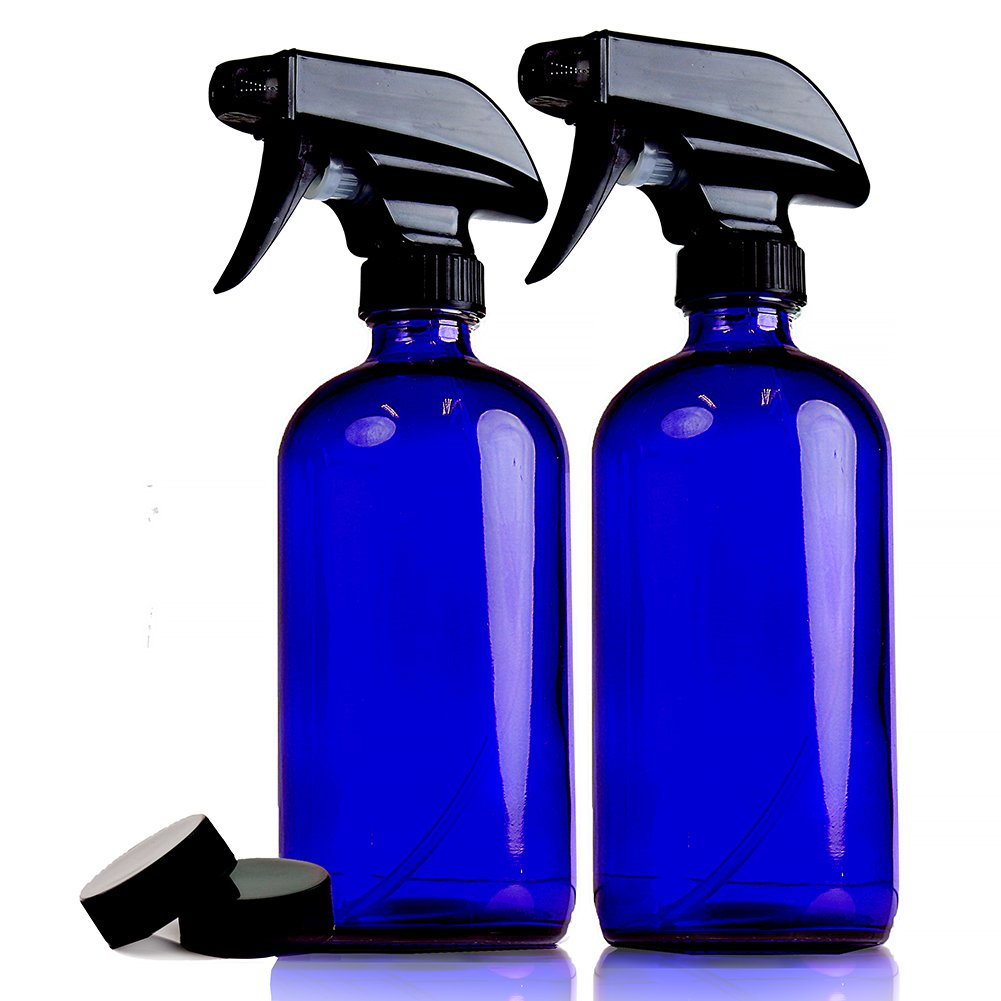 Empty Blue Glass Spray Bottles | 2 Pack 16 Oz Refillable Sprayer for Essential Oil | Water, Kitchen, Bath, Beauty, Hair, Cleaning | Durable Trigger Sprayer With Mist & Stream Modes & 2 Storage Caps
