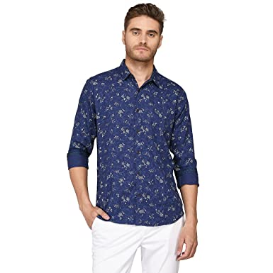 4448cefe JadeBlue Men's Dark Blue Printed Slim Fit Casual Shirt: Amazon.in: Clothing  & Accessories