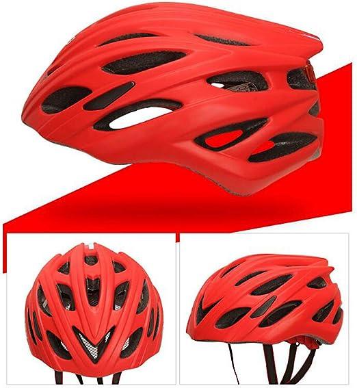 Casco ciclismo con luz trasera desmontable, ciclismo Mountain Road Cascos para bicicleta Ajustable para adultos Transpirable y protección para la cabeza Monopatín para bicicleta de montaña,Red: Amazon.es: Hogar