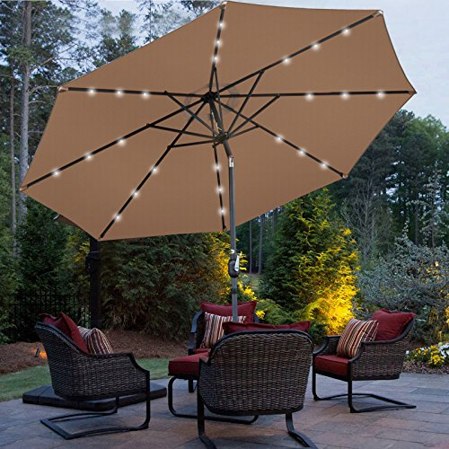 ZENY LED Lighted Outdooor Umbrella, Deluxe Large Patio Solar LED Lighted Patio Umbrella w/Tilt Adjustable Crank, Bulit-in 24 LED Lightings, Perfect for Backyard, Patio, Deck, Poolside, and more Review