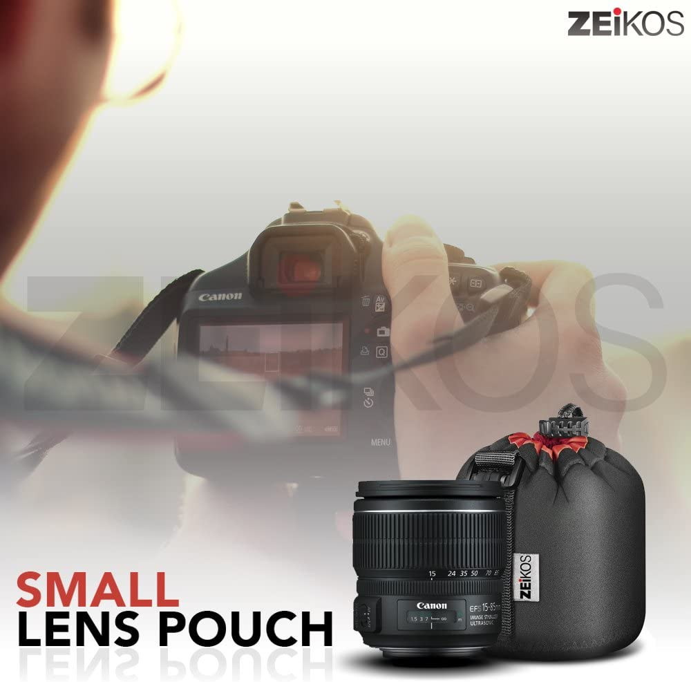 CanonNikonPentaxSonyOlympusPanasonic Zeikos ZELP3 Lens Case Size Thick Protective Neoprene Pouch for DSLR Camera Lens Comes with a Miracle Microfiber Cloth Large