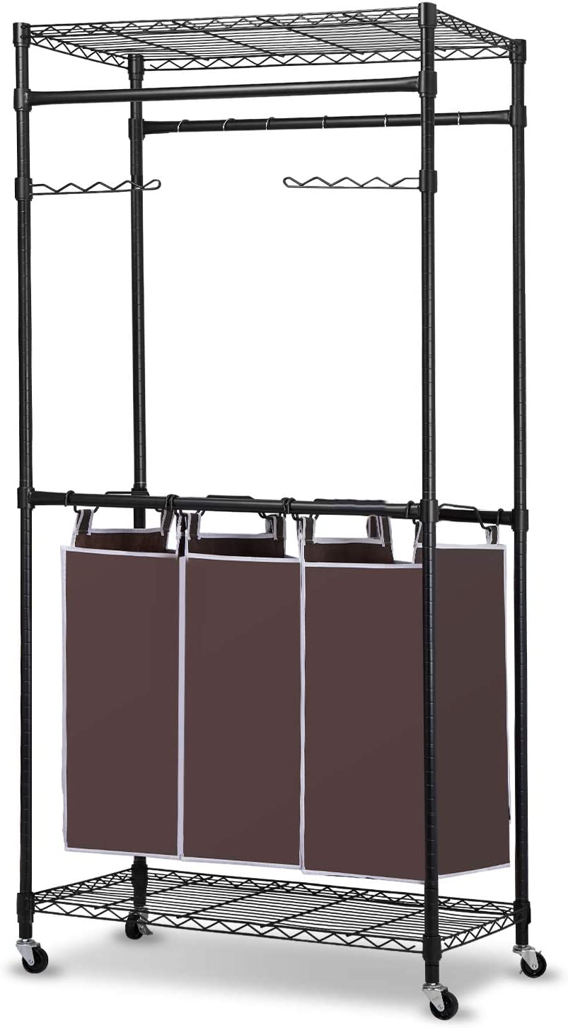 alvorog Laundry Sorter Cart 3 Bag Rolling Clothes Hamper Sorter with Wheels Heavy Duty Garment Rack with Shelves and Hanging Bar for Clothes Storage