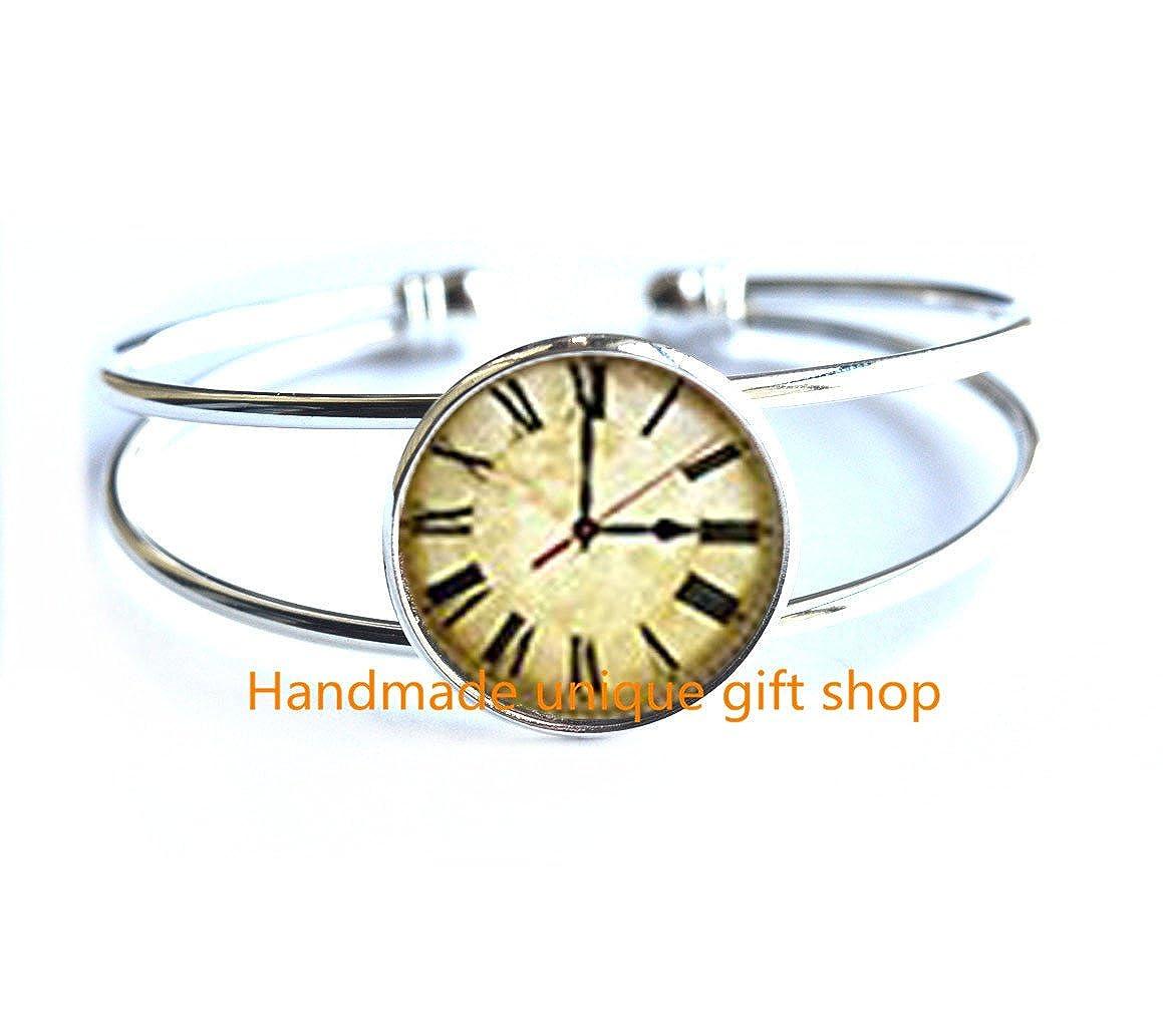 Vintage Clock Art Jewelry,Clock Charm Bracelet Vintage Clock Bracelet Steampunk-RC251 Modern Fashion Bracelet,Beautiful Bracelet