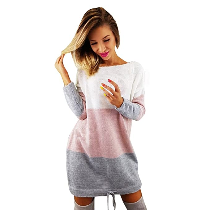 Amazon.com: ANJUNIE Knit Patchwork Skirt,Womens Holiday O Collar Ladies Casual Long Sleeve Dress: Clothing