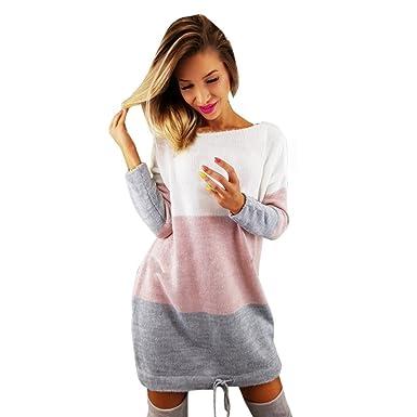 URSING Damen Pullover Kleid Frauen Winter Einfarbig Langarm Gestrickt Pullover  Kleid O-Ausschnitt Stretch Strickkleid 40858b80e0