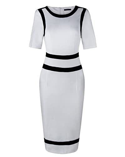OUGES Womens Stretch Patchwork Work Bodycon Dresses