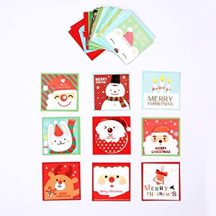 jewh 20pcs christmas new year gift cards invitation card with envelop cartoon snoman santa kids birthday