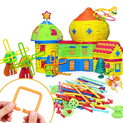 Peradix Kids Building Sticks Toys 155 PCS Soft Building Blocks STEM Set Flexible Twistable Construction Theme DIY Activity Game Set- Construction and Educational Toy for Children with Storage Bag