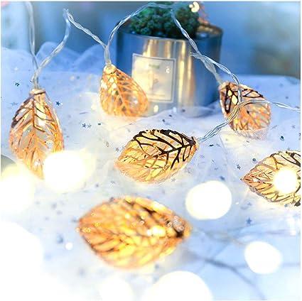 Tim Li Led Fairy Lights Rose Gold Leaf Metal For Party Decorations 9 8 Ft 20 Lights Battery Operated Bedroom Fairy Lights Wedding Lighting Amazon De Kuche Haushalt