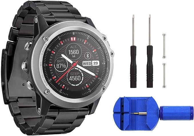Digit.Tail 26mm Stainless Steel Band Universal Replacement Watch Strap with Accessories for Garmin Fenix 2 / Fenix 3 HR/Fenix 3 Sapphire, Fenix 5X ...