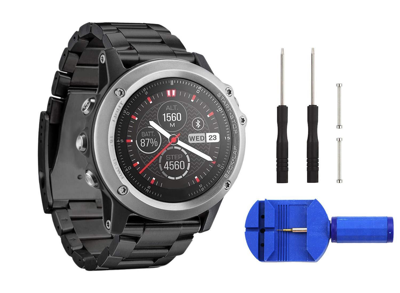 Digit.Tail Correa metálica 26mm Pulsera Deportiva Band de Repuesto con recambios Accesorios para Garmin Fenix 3/Fenix 3 HR, Fenix 5X Smartwatch ...