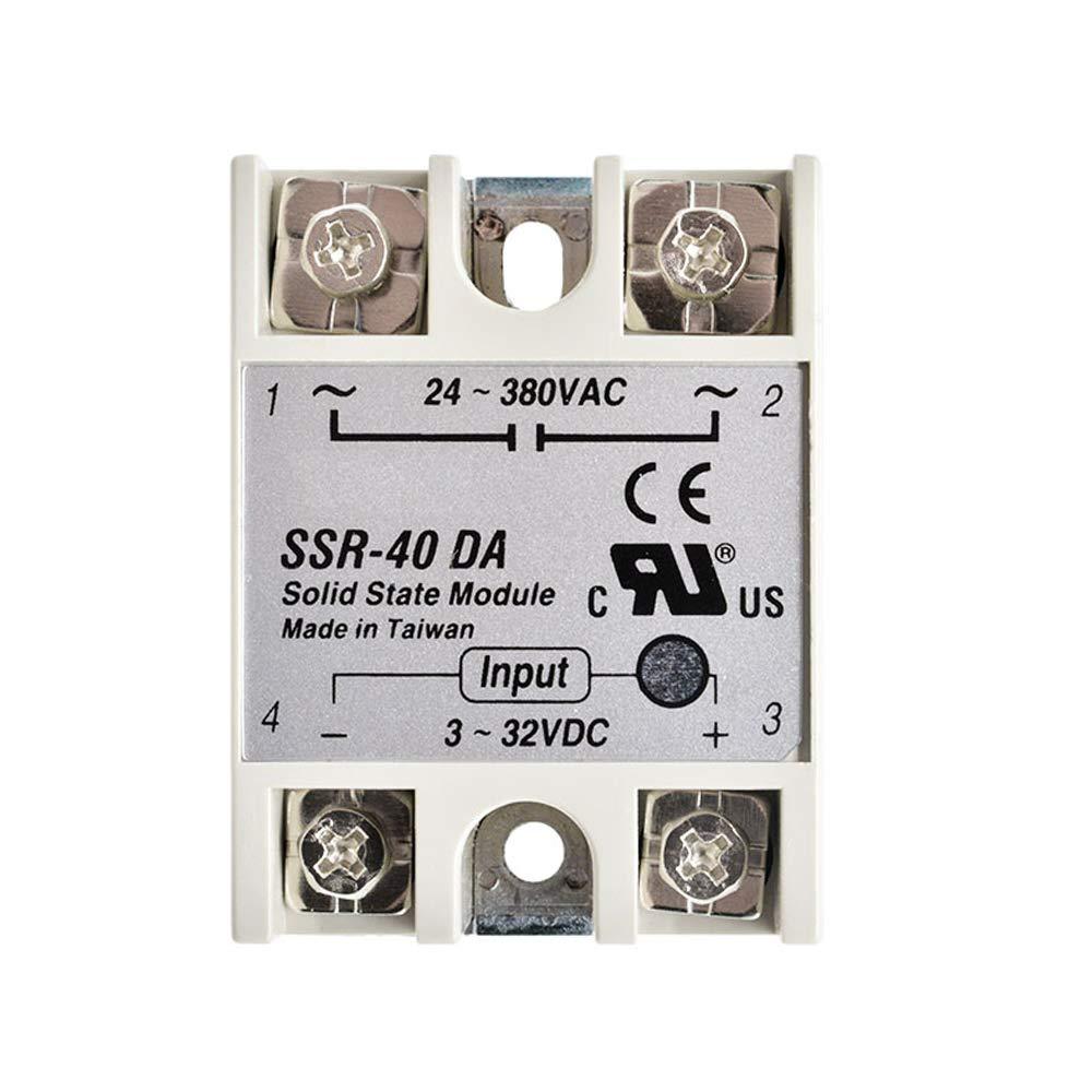 Diymore - Módulo de relé de estado sólido para Arduino 24V-380V SSR-40DA 40A 3-32V DC-AC