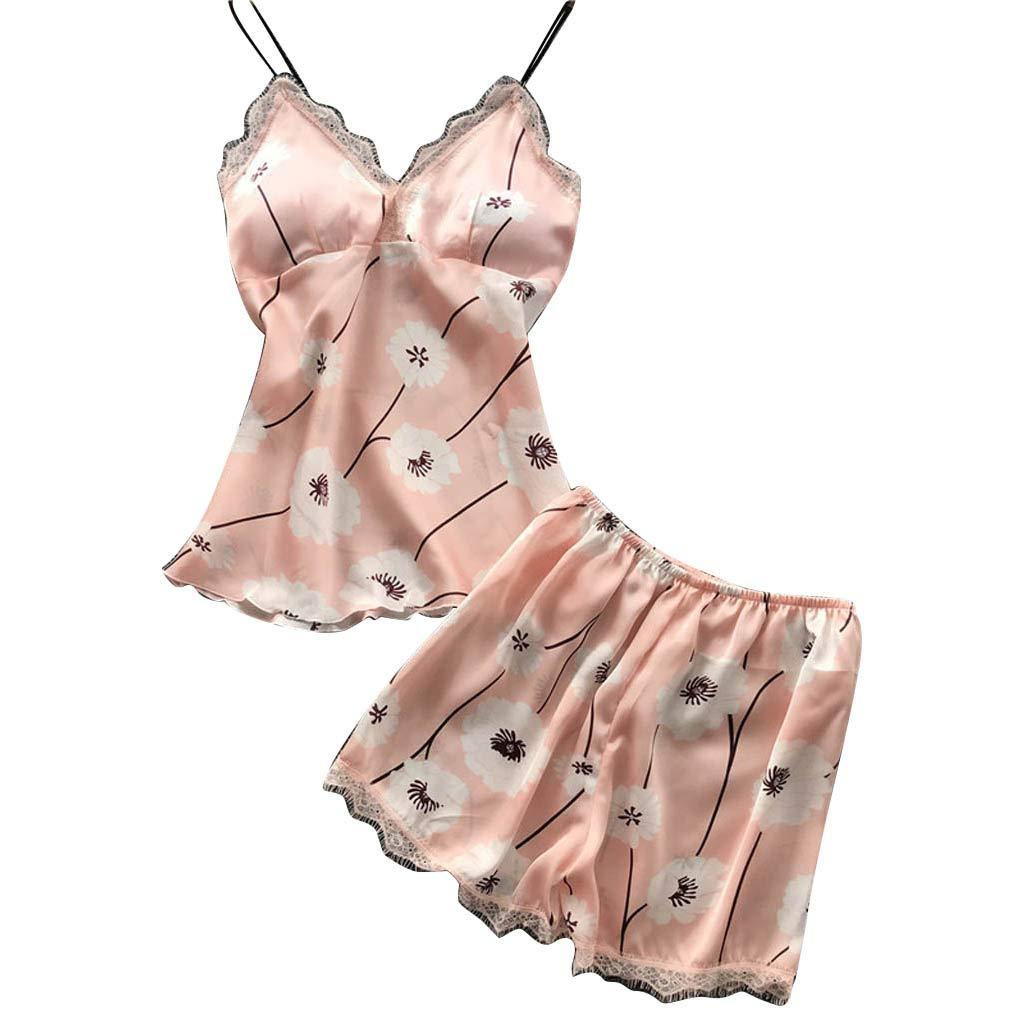 Women's Sexy Satin Sling Lingerie Comfort Sleepwear Lace Printed Nightwear Pink Cute Underwear Set (Pink, XL)