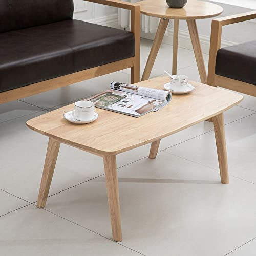 krei hejmo Solid Wood Coffee Tea Sofa Side Table 102-Rectangular, Natural Finish